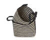"S/2 Jute Rectangular Basket Long Handles - Dark Grey/Bleach White made Braided Jute (11x15x11.8"" / 9.5x13x10.5"")"