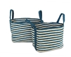 "S/2 Jute Rectangular Basket Long Handles - Indigo Blue/Bleach White made Braided Jute  (11x15x11.8"" / 9.5x13x10.5"")"