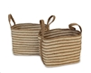 "S/2 Jute Rectangular Basket Long Handles - Natural/Bleach White Braided Jute (11x15x11.8"" / 9.5x13x10.5"")"