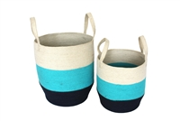 "S/2 Jute Round Storage Basket Loop Handles - Navy Blue/Pastel/Bleach White (15x17""/13x15"")"