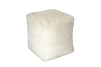 "JUT024 Jute Square Pouf - Bleach White 15.5 x 15.5"" high"