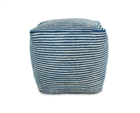 Jute Square Pouf - Indigo Blue/Bleach White Mini Stripe 15.5x15.5x15.5""