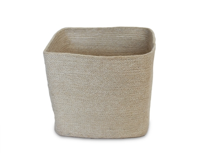 "Jute Square Trash Bin - Bleach White/Natural Mini Stripe ((8x8x11"")"