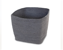 "Jute Square Trash Bin - Dark Grey (8x8x11"")"