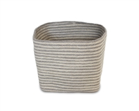 "Jute Square Trash Bin - Silver Grey/Bleach White Mini Stripe(8x8x11"")"
