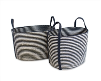 "S/2 Oval Laundry Tote Basket Long Handle - Navy Blue/Bleach White (19.5x14x13"" / 17x12x13"")"