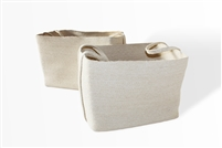 "S/2 Jute Rectangular Basket Long Handles - Bleach White (21x15x15""/18x13.5x13.5"")"