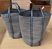 "S/2 Jute Tall Round Laundry Basket Long Handle - Indigo Blue/Bleach White Mini Stripe (15x22"" / 13.5x20"")"