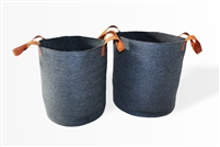 "S/2 Jute Round Laundry Basket with Brown Leather Handles - Dark Grey (15x17"" / 12.5x15.5"")"