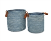"S/2 Jute Round Laundry Basket with Brown Leather Handles - Indigo Blue/Bleach White Mini Stripe (15x17"" / 12.5x15.5"")"