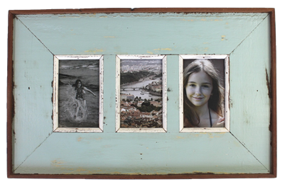 "Frame RW Plain Wide Board 3-pic (4x6"") Pale Blue/Green Rustick - 21x13"" .."