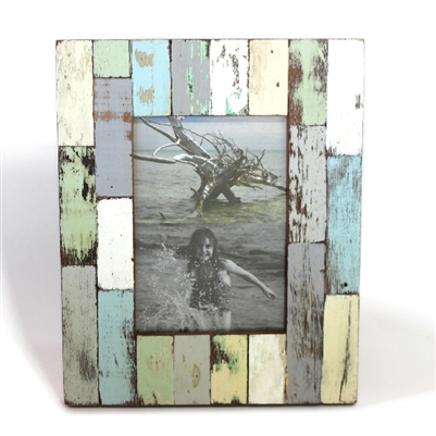 "Frame RW Rustic Green Blue Wood Block  (5x7) 11x9"" (Stand).."