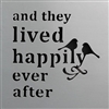 "Wall Panel Word Cut Out ""and they lived ..."" Cool Grey 16x16"" .."