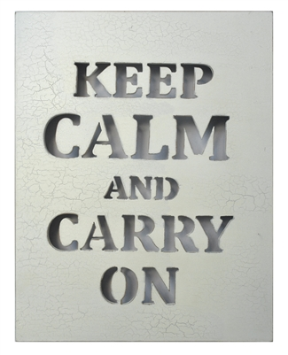 "Wall Panel Word Cut Out ""Keep Calm ..."" White Cracked 14x16"" .."