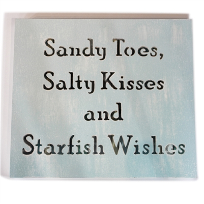 "Wall Shadow Panel ""Sandy Toes ...."" White/Blue Strips 16x18"".."