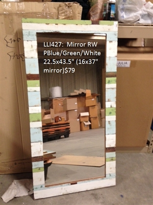 "Mirror RW PBlue/Green/White 22.5x43.5"" (16x37"" mirror).."