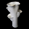 "Vase Open Tall Coral Ceramic - Natural White 8.5x8.5x18""H"