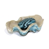 Soap Dish Shell Blue 4x6.25x2.5""