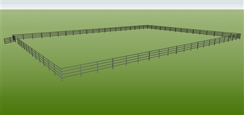 "120'W x 168'D 1-5/8"" 4-Rail w/ 12' Ranch Gate Arena"
