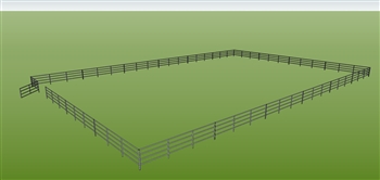 "96'W x 144'D 1-5/8"" 4-Rail w/ 12' Ranch Gate Arena"