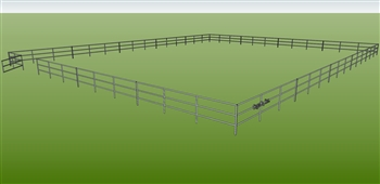"72'W x 120'D 1-7/8"" 3-Rail w/ 12' Ranch Gate Arena"