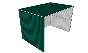 8'x12' Horse Shelter 3 Sided Painted Evergreen