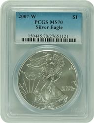 2007-W PCGS MS70 Silver Eagle Faded Label