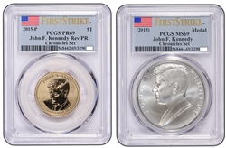 2015 John F. Kennedy Coin and Chronicles Dollar PCGS Reverse PR69and MS69 FS