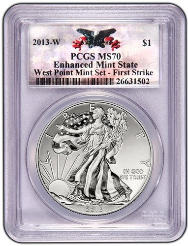 2013-W PCGS MS70 Enhanced SILVER EAGLE First Strike (Custom West Point)