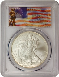 2008-W PCGS SP70 Burnished Silver Eagle Dollar Freedom Label