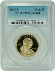 2008-S PCGS PR69DCAM SAC Dollar Commemorative (Faded Label