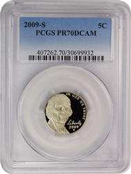 2009-S PCGS PR70DCAM Jefferson Nickel Faded Label
