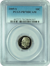 2009-S PCGS PR70DCAM Roosevelt Dime Faded Label