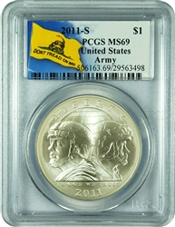 2011-S PCGS MS69 UNited State Army Commemorative $1 (Dont Tread Label)