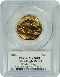 2009 PCGS MS70PL Ultra High Relief $20 Gold Double Eagle Signed (Edmond C. Moy)