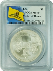 2011-S PCGS MS70 Medal of Honor Commemorative Dollar Don't Tread On Me Label