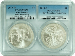 2013 W/P PCGS MS70 Girl Scouts/Boy Scouts Of America