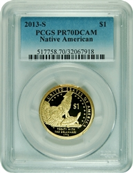 2013-S PCGS PR70DCAM  Native American Silver Dollar Faded Label