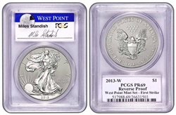 2013 West Point Silver Eagle Set PCGS 69 FIRST STRIKE (Miles Standish Auto)