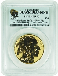 2013-W Reverse Proof $50 Gold Buffalo PCGS PR70 Black Diamond Label First Strike (INF)