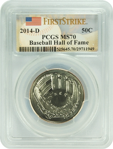2014-D PCGS MS70 Baseball Hall of Fame 50C (First Strike)