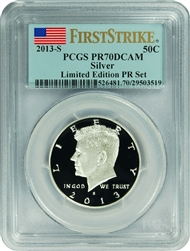 2013-S PCGS PR70DCAM Kennedy Silver Half Dollar (First Strike) Limited Edition