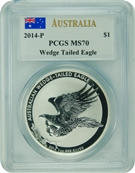 2014-P PCGS MS70 Australia WEDGE TAIL EAGLE (Signed John Mercanti)