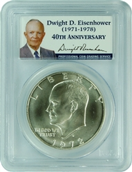 1972-S PCGS MS68 Silver Eisenhower IKE SILVER Dollar Presidential Label