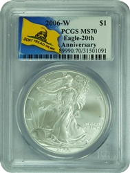 2006-W PCGS MS70 Silver Eagle 20th Anniversary Don't Tread On Me Label