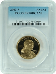 2003-S PCGS PR70DCAM SACAGAWEA DOLLAR Commemorative Faded Label