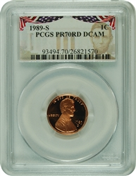 1989-S PCGS PR70RD DCAM Lincoln Cent Presidential Label