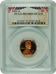 1991-S PCGS PR70RD DCAM Lincoln Cent Presidential Label