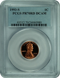 1993-S PCGS PR70RD DCAM Lincoln Cent
