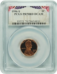 1996-S PCGS PR70RD DCAM Lincoln Cent Presidential Label